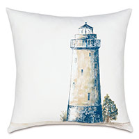 Lighthouse Handpainted Decorative Pillow
