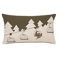 Lodge Ski Lift Decorative Pillow