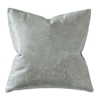 Tudor Leather Decorative Pillow in Dove