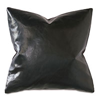 Tudor Leather Decorative Pillow in Onyx
