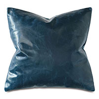 Tudor Leather Decorative Pillow in Ocean