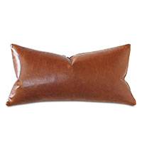 Tudor Leather Decorative Pillow in Cognac