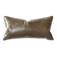 Tudor Leather Decorative Pillow In Cocoa