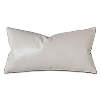 Tudor Leather Decorative Pillow In Vanilla