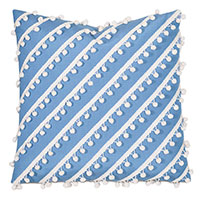 Cove Ball Trim Decorative Pillow in Blue