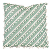 Cove Ball Trim Decorative Pillow in Celadon