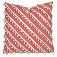 Cove Ball Trim Decorative Pillow in Coral
