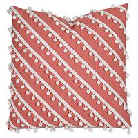 Cove Ball Trim Decorative Pillow in Coral