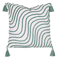 Seaspray Wavy Fringe Decorative Pillow
