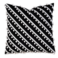Cove Ball Trim Decorative Pillow in Black
