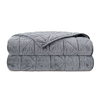 Nova Quilted Velvet Coverlet In Heather