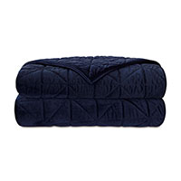 Nova Quilted Velvet Coverlet In Indigo