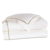Linea Velvet Ribbon Duvet Cover In White & Oliva