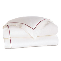 Linea Velvet Ribbon Duvet Cover In White & Shiraz