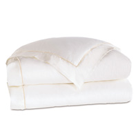 Linea Velvet Ribbon Duvet Cover In White & White