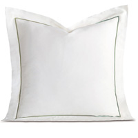 Linea Velvet Ribbon Euro Sham In White & Aloe