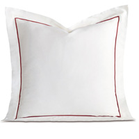 Linea Velvet Ribbon Euro Sham In White & Shiraz