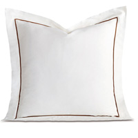 Linea Velvet Ribbon Euro Sham In White & Walnut