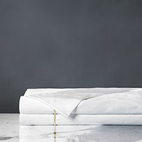 Linea Velvet Ribbon Flat Sheet In White & Sable
