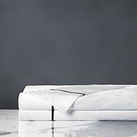Linea Velvet Ribbon Flat Sheet In White & Walnut