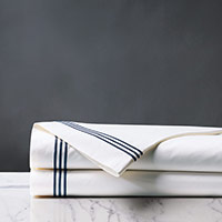 Tessa White/Navy Flat Sheet
