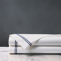 Enzo White/Navy Flat Sheet