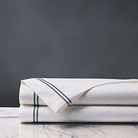 Enzo Satin Stitch Flat Sheet in Slate
