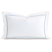 Linea Velvet Ribbon King Sham In White & Azure