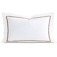Linea Velvet Ribbon King Sham In White & Walnut