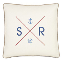 Maritime Embroidered Flag Accent Pillow In Ivory