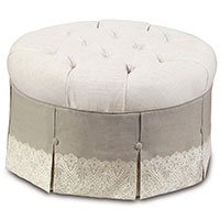 Ledger White Round Ottoman