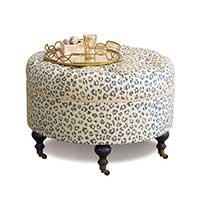 Tabby Sapphire Round Ottoman