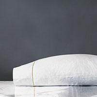 Linea Velvet Ribbon Pillowcase In White & Sable