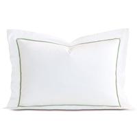 Linea Velvet Ribbon Queen Sham In White & Aloe