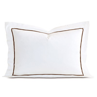 Linea Velvet Ribbon Queen Sham In White & Walnut
