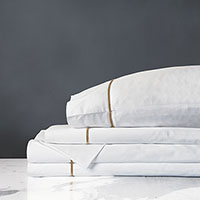 Linea Sheet Set In White & Antique