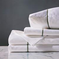 Linea Sheet Set In White & Oliva