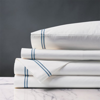 Enzo White/Ocean Sheet Set