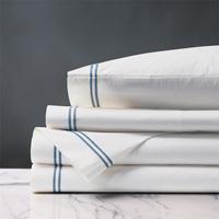 Enzo White/Ocean Sheet Set