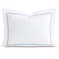 Linea Velvet Ribbon Standard Sham In White & Azure