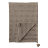 Brinsley Pom Pom Knit Throw In Tan