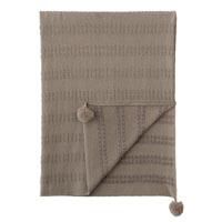 Brinsley Pom Pom Knit Throw In Tan