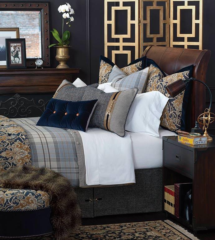 Arthur - luxury bedding, button-tufted, decorative bedding, buckle, monogram, designer bedding, plush, velvet, 100% cotton, throw pillows, decorative pillows, ottoman, accent pillows, duvet cover, faux leather, plaid, navy, brown, damask, duvet cover, comforter, draperies, curtains, curtain panel, bed skirt, sham, bed scarf, nailhead,