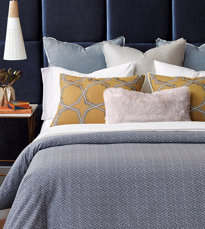 Nico - chic, embroidered, star, washable, hip, trendy, stylish, designer, thom filicia, bedding, home décor, interior design, accessories, contemporary, urban, young, modern, colorful, blue, yellow, pink, mustard, navy, faux fur, duvet cover, duvet, comforter, coverlet, throw, box spring cover, euro sham, king sham, standard sham, bolster, bed pillow, pillow, decorative pillow, sham, throw pillow, accent pillow, geometric, graphic, round pillow, faux fur throw, 100% cotton, linen
