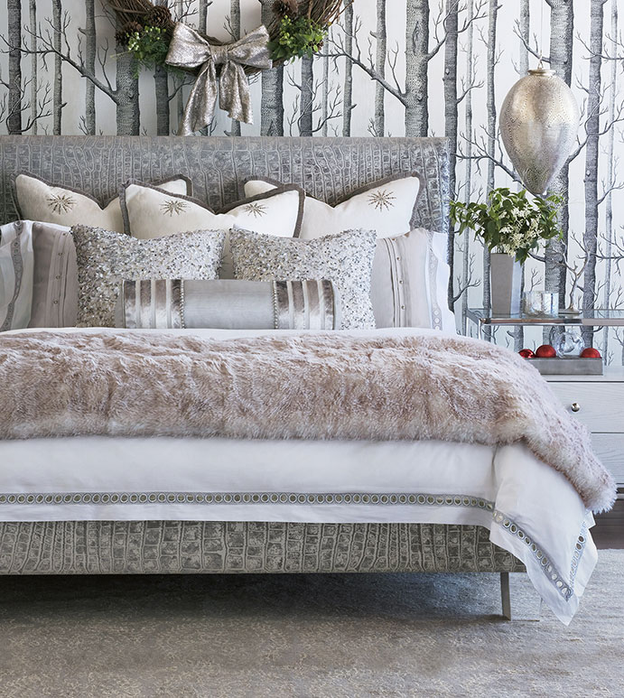 Starry Night - silver,metallic,glam,bedding,bedding collection,bedding ensemble,sheets,sheeting,fine linens,lace,percale,glam silver bedding,glam metallic bedding,silver lace sheets,lace sheets,percale fine linens,100% cotton,