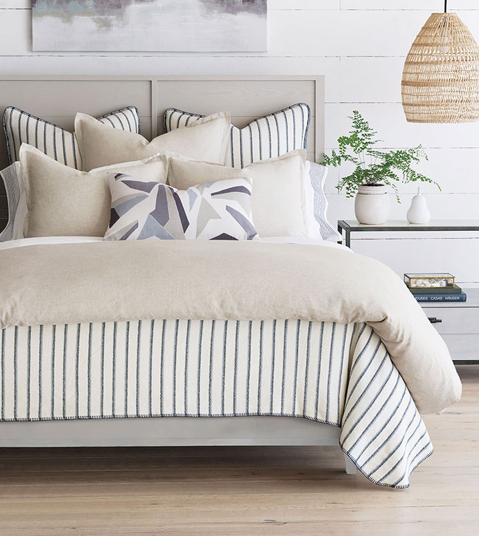 Devon - ,100% linen,linen bedding,100% Italian linen,flax linen,100% linen duvet cover,striped bedding,casual bedding,flannel bedding,thom filicia bedding,minimalist bedding,