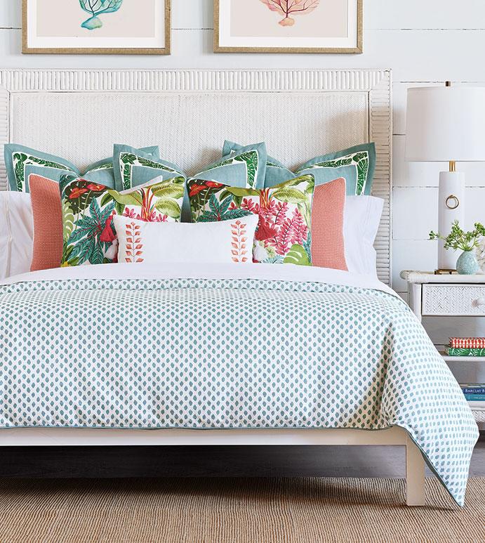 St. Barths - ,tropical bedding,tropical decor,tropical pillow,tropical embroidery,luxury bedding,teal bedding,teal duvet,coral bedding,embroidered bedding,tropical print,custom bedding,tropical pillow,
