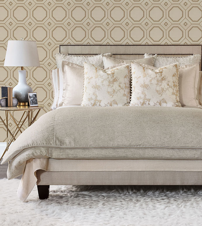 Gondry - ,chenille bedding,gold bedding,luxury bedding,gold decor,glam bedding,gold sham,gold pillow,metallic bedding,ball trim,metallic pillow,beige bedding,luxury pillow,ball trim pillow,romantic bedding,