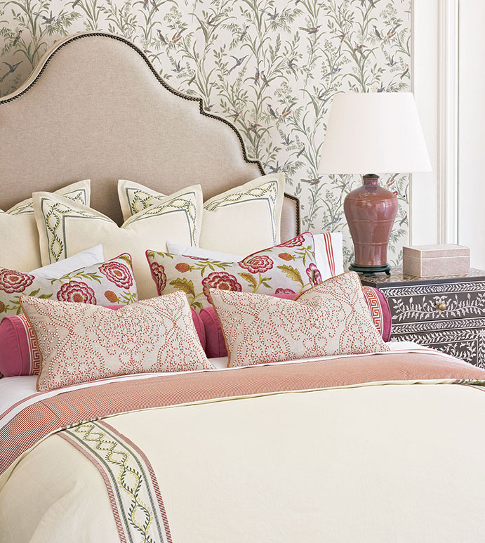 Marguerite - ,luxury bedding,designer bedding,designer bedroom,alexa hampton,floral bedding,floral embroidery,ticking stripe,romantic bedding,romantic bedroom,luxury bedroom,greek key,pink bedding,traditional bedroom,