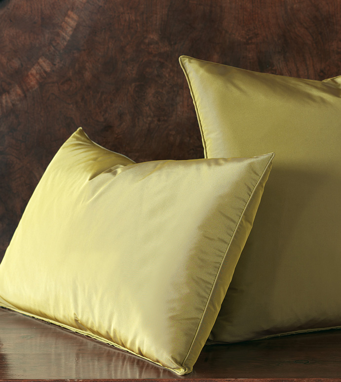 Freda Solid Taffeta - citron,chartreuse,green,olive,taffeta,shiny,silky,bed skirt,ruffled,euro sham,standard sham,king sham,accent pillow,decorative pillow,pillow,bedding,bed pillow,bed skirt,square,made in usa,